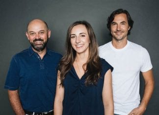 Pictured (L-R): Bruce A. Gates, Nicole Dovolis, Luke Wooten
