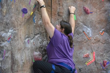 Mobile L'Arche guests climb at Belmont University in Nashville, Tennessee, October 23, 2018.