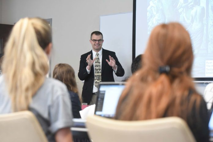 Ryan Stitt speaks at Dr. Thorndike's class at Belmont University in Nashville, Tennessee, October 22, 2018.