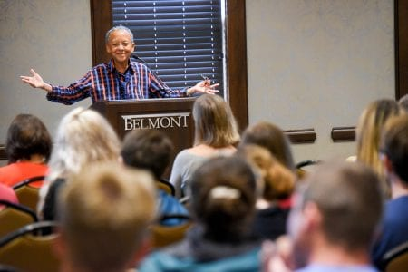 Poet Nikki Giovanni speaks to crowd of students at Belmont University