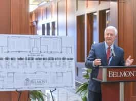 Dr. Bob Fisher announces that Belmont will add a Bachelor of Architecture degree at Belmont University.