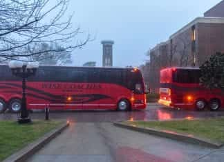 Amazon provided buses for Belmont students to attend a recruiting event in downtown Nashville (February 6, 2019).