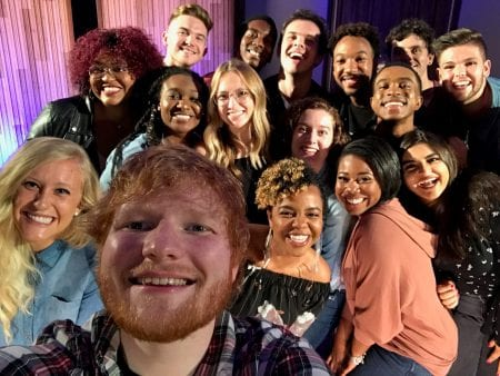 Ed Sheeran takes selfie with Belmont students