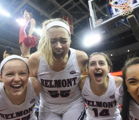 Belmont Women win the OVC Tournament over UT Martin 59-53 in Evansville, KY on March 9, 2019.