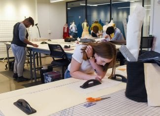 Students in class in O'More School of Design at Belmont University in Nashville, Tennessee.