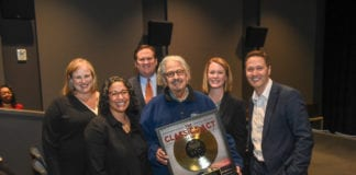Mark Volman is recognized at Belmont University in Nashville, Tennessee, April 2, 2019.
