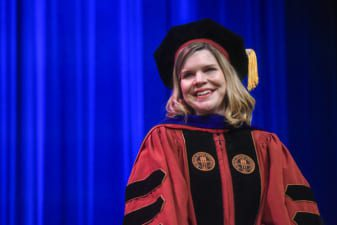 Amy Hodges-Hamilton (English) wins Presidential Award at Scholarship and Awards Day at Belmont University in Nashville, Tennessee, April 10, 2019.