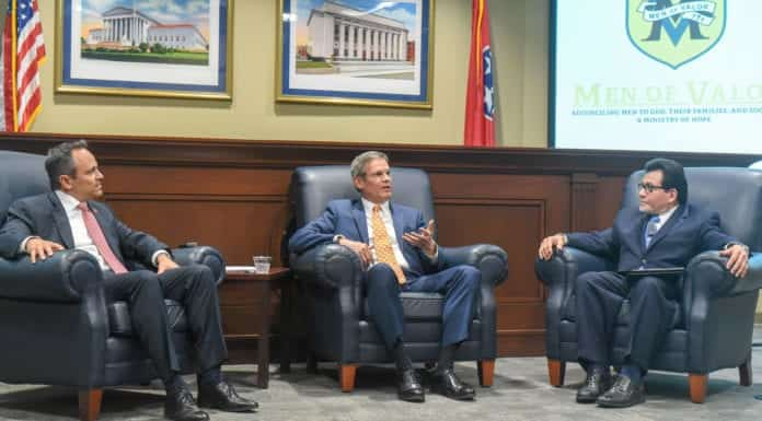 Kentucky Governor Matt Bevin and Tennessee Governor Bill Lee will discuss state-level criminal justice reform, in a policy conversation moderated by former Attorney General Alberto Gonzales at Belmont University in Nashville, Tennessee, April 17, 2019.