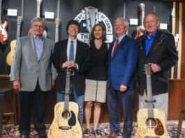 Filmmaker Ken Burns joined Dr. Fisher to unveil two Martin D 28 Guitars that have been signed by 76 of the 101 country artists interviewed for Burns's highly anticipated eight-part, 16-hour documentary, COUNTRY MUSIC at Belmont University in Nashville, Tennessee, May 29, 2019.