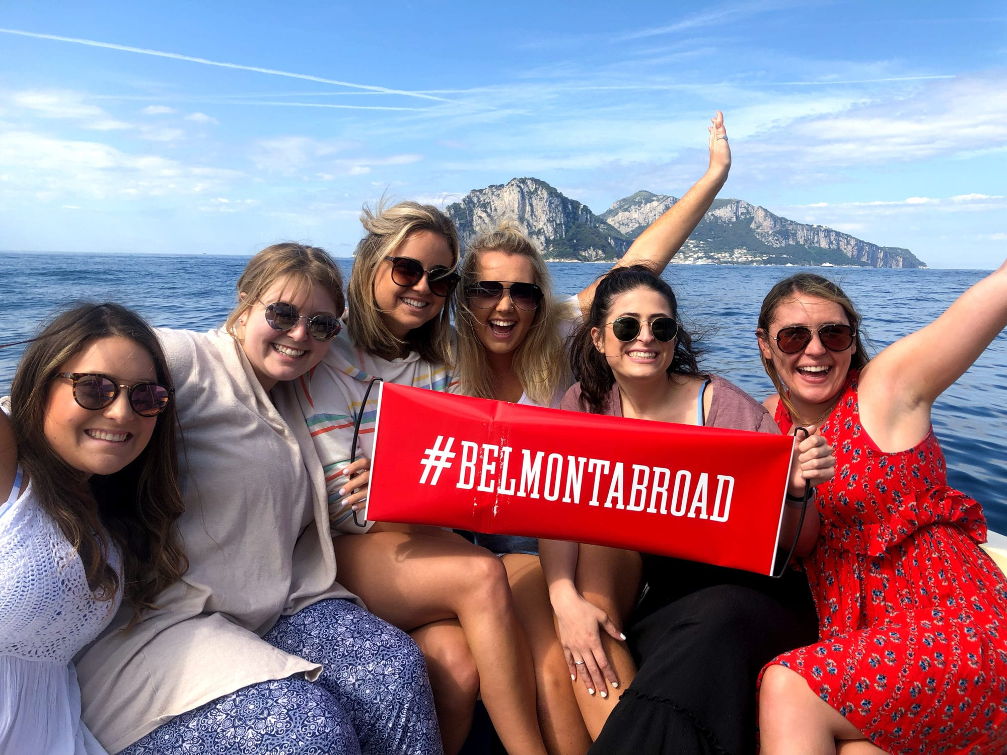 Belmont students on a boat in the Mediterranean