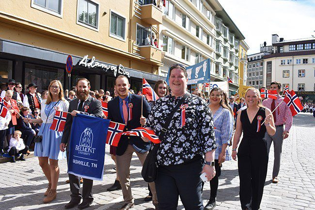 Belmont students marching in the Norweigan Constitution Day Parade
