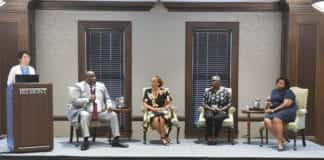 Panelist Dr. Robert Seller, Dr. Jewell Winn, Barbara Lawrence, JD and Dr. Taffye Benson Clayton talk during the Diversity and Inclusion summit