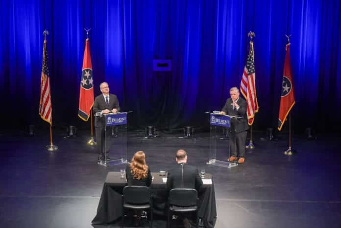 The debate between candidates Mayor David Briley and Councilman John Cooper was moderated by NewsChannel 5's Rhori Johnston and The Tennessean's Jessica Bliss at Belmont University in Nashville, Tennessee, August 26, 2019.