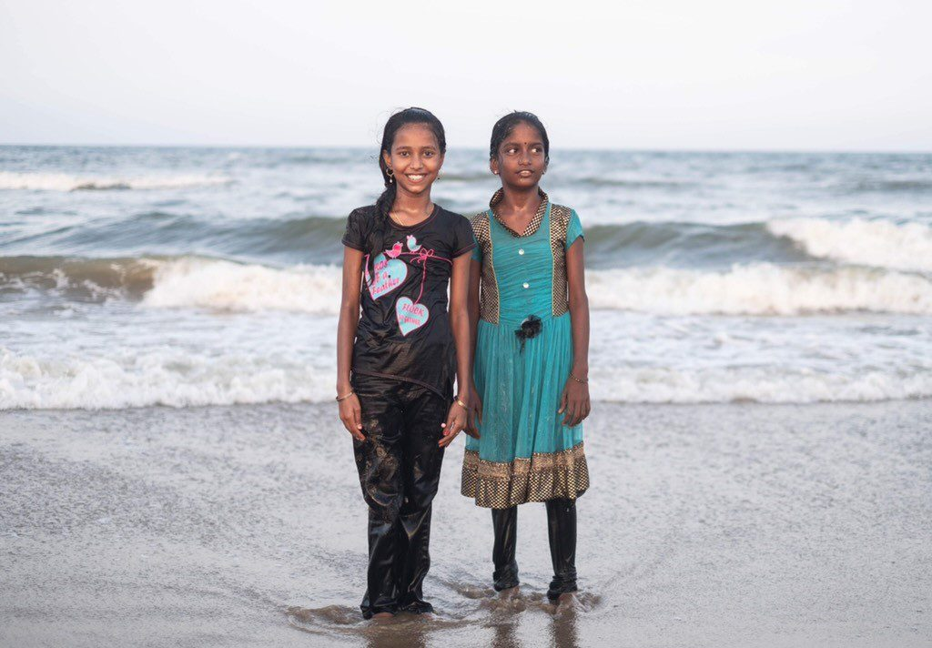 Photo taken by Kate Wurm of two Indian girls in Chennai, India