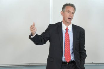 Jeff Morgheim, former BP executive speaks  at Belmont University September 27, 2019.