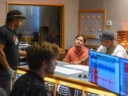 "Luke Putney in the studio with Victor Wooten and other artist recording tracks for his latest song ""Cape Town"" at Ocean Way Nashville Studios."