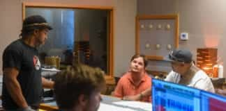 """Luke Putney in the studio with Victor Wooten and other artist recording tracks for his latest song """"Cape Town"""" at Ocean Way Nashville Studios."""