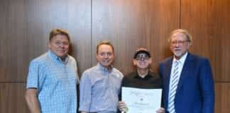 (L to R) David Preston, BMI; Jody Williams, BMI; Alan Shacklock; Doug Howard, dean of Curb College of Entertainment and Music Business