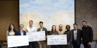 Winners and judges of Belmont University's 2019 Business Pitch Competition