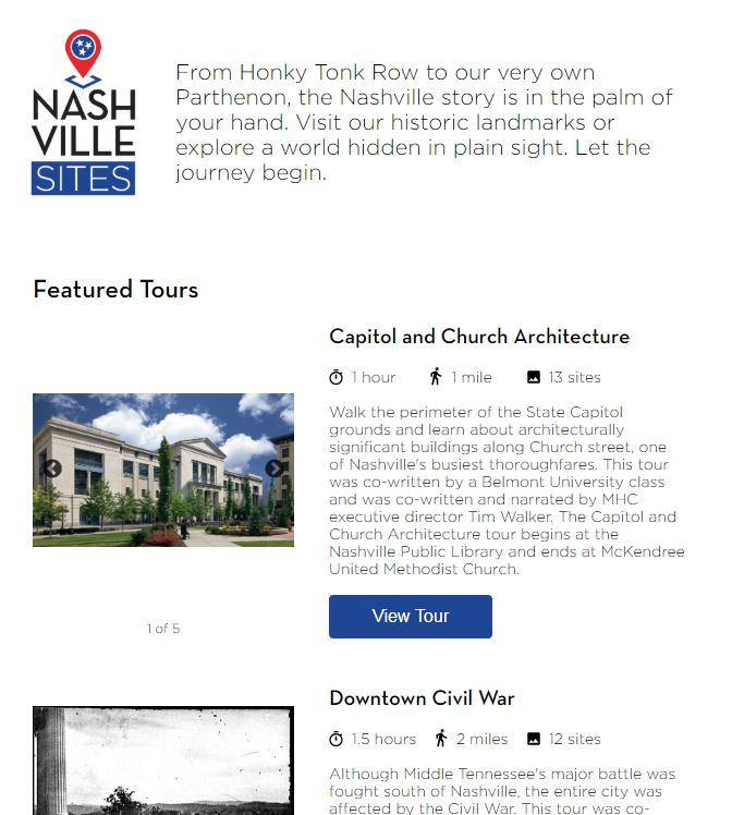 Nashville Sites Screenshot