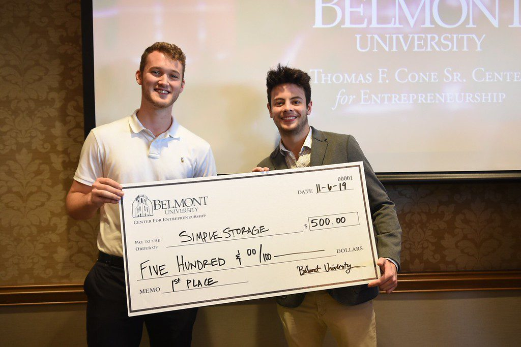 First place winners Bailey Jackson and Nathan Kim with their prize awarded for SimpleStorage
