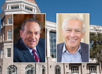 Headshots of Huckabee and Clark over campus building