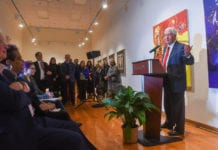 Dr. Bob Fisher, President of Belmont University announces the merger of Watkins College of Art and Belmont University at Belmont University in Nashville, Tennessee, January 28, 2020.