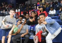 Kids having fun at basketball game