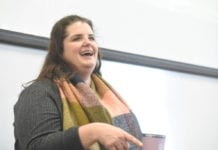 Biscuit Love: Dream Big! Alumna Sarah Hadzor Worley talks to students at Belmont University in Nashville, Tennessee, January 29, 2020.