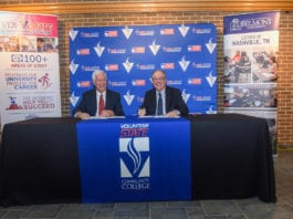 Dr. Bob Fisher, President of Belmont University and Dr. Jerry Faulkner, Vol State Community College sign an articulation agreement between Belmont and Vol State at Vol State Community College in Gallatin, Tennessee, February 4, 2020.