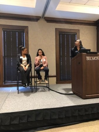 Belmont Law Students Lesley Smith and Elena Ferguson speak on student panel