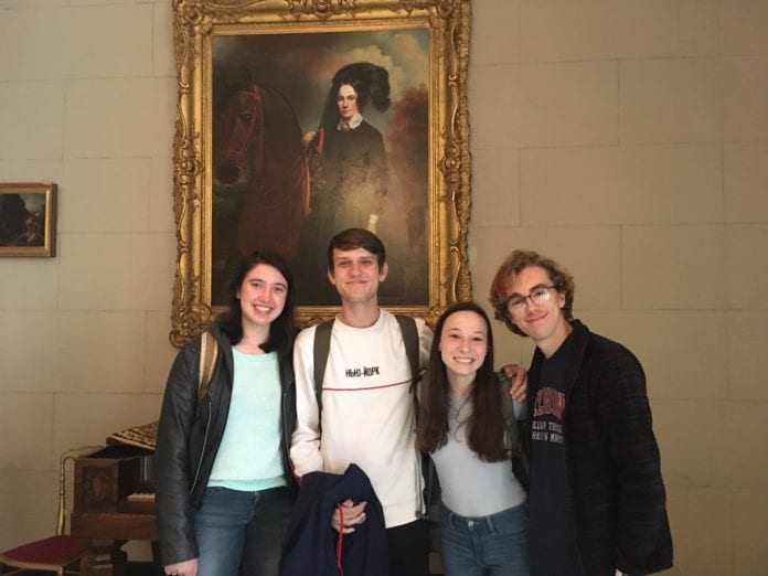 Honors student inside Belmont Mansion