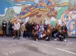Belmont students with Lindsey Krinks, co-founder of Open Table Nashville and Brian Jones during an urban immersion experience.