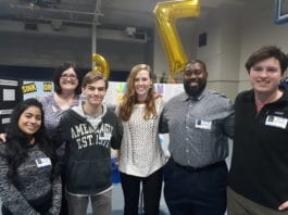 Dr. Danielle Garrett, assistant professor of chemistry education, with students Carlos McDay, Ryan Gagnon, Nancy Henin, Britton Townsley and Zach Hilt at Donelson Christian Academy Science Fair