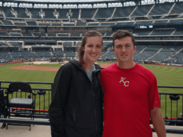 Katie Coens with co-founder of MatchnPlay, Tom Brady