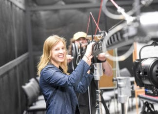Motion picture student works in the studio