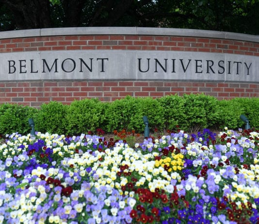 Flower Bed in front of Belmont Sign