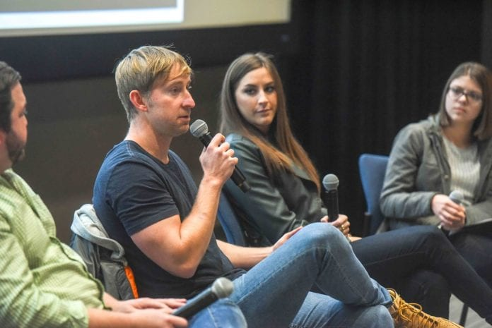 Ashley Gorley, Blaine Rhodes and Kelly Bolton speak to Curb students