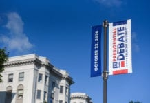 Belmont has new debate 2020 signs up around campus at Belmont University in Nashville, Tennessee, May 29, 2020.