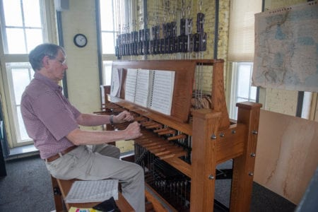 Dr. Richard Shadinger prepares to play the carillon