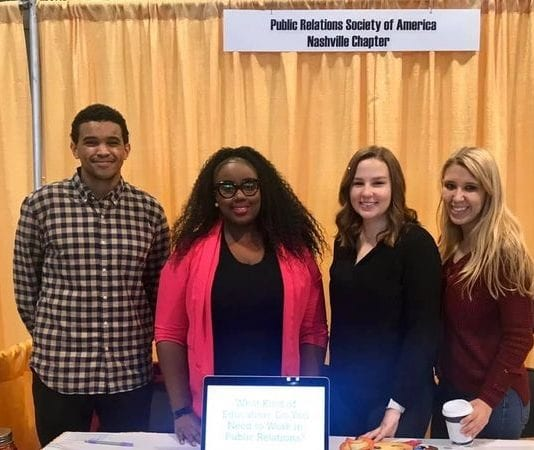 L-R, Ian Dinkins and Ivy Johnson of PRSA Nashville, and Olivia Blumb and Jamie Anderson of Belmont PRSSA