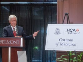Belmont President Dr. Bob Fisher speaks during an announcement that Belmont University intends to start a new College of Medicine in partnership with one of the nation's leading healthcare providers, HCA Healthcare at Belmont University in Nashville, Tennessee, October 15, 2020.