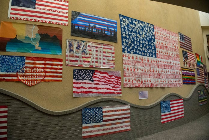 many of the flags hung in the gallery