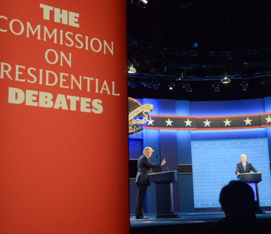 President Donald Trump and Former Vice President Joe Biden debate with NBC News White House correspondent Kristen Welker as the moderator in the Curb Event Center at Belmont University in Nashville, Tennessee, October 22, 2020.