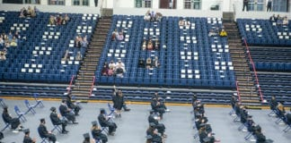 spaced out graduation ceremony