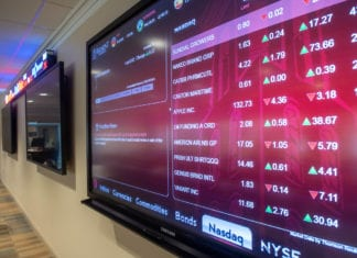 The stock ticker in the Trading Room