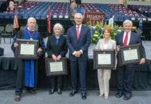 Group photo from April 23 commencement. Pictured (l-r): Dr. Bob Fisher, Judy Fisher, Milton Johnson, Betty Dickens and Marty Dickens