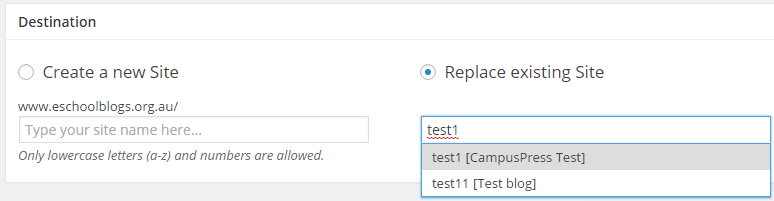 Select Replace existing site