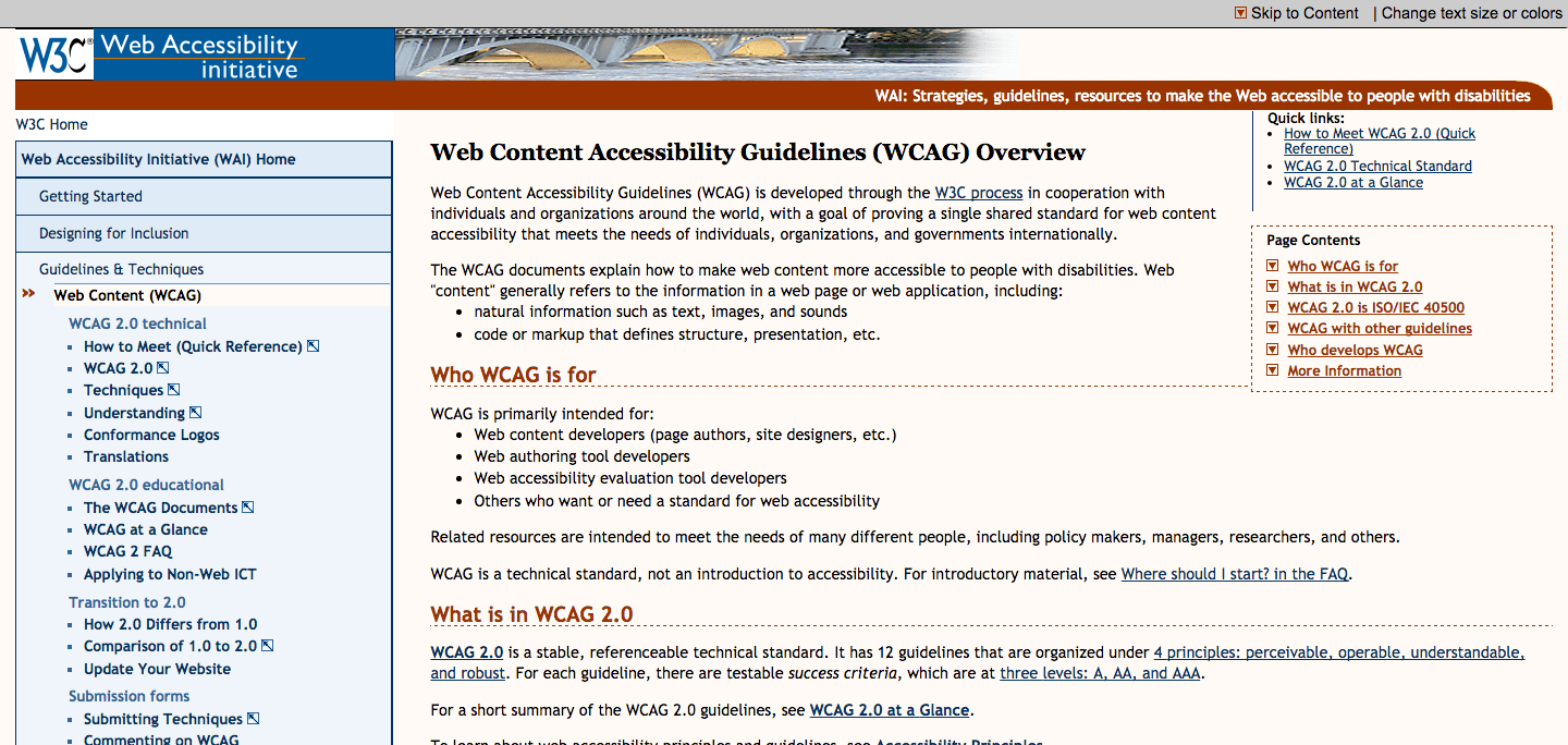 W3C accessibility standards page