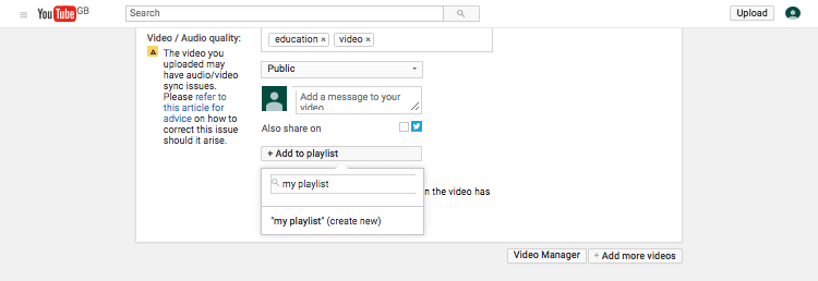 adding a video to a playlist